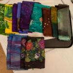 finished scarves all folded