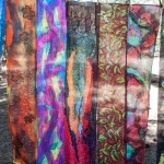 student work: 4 scarves hanging