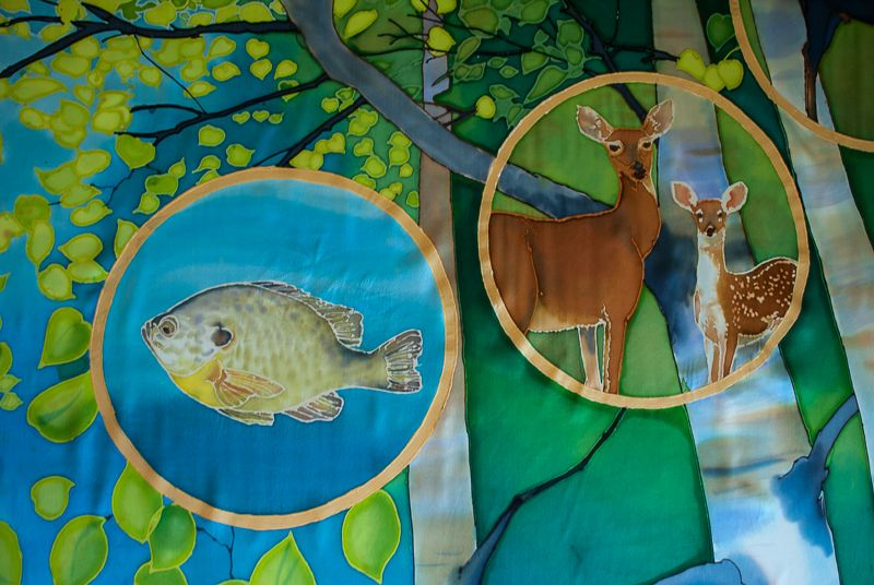 Birch Forest Sunfish and Deer