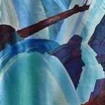 Kristen Gilje, Lenten Waterfall, hand painted silk, 9 ft. x 28 in., 2003