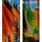 Kristen Gilje, Mine Tailings and Ruins, hand painted silk, 9 ft x 58 in., 2002