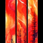 Kristen Gilje, Called Through Fire, hand painted silk, 9ft x 5 5in., 2001