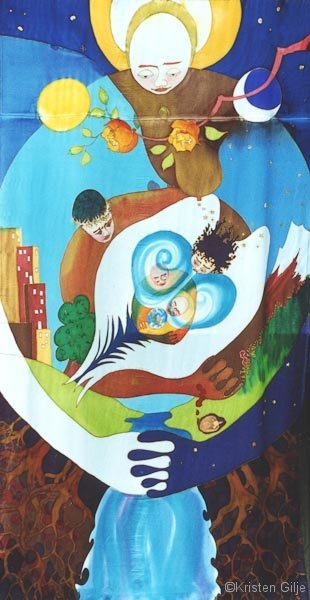 Kristen Gilje, God Embraces All, 9 ft x 55 in., hand painted silk, 2004