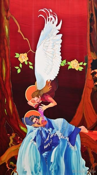 Kristen Gilje, Summon Out What We Shall Be, hand painted silk, 10 ft x 55 in., 2004