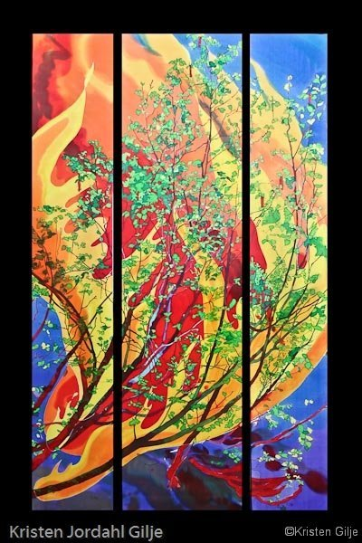 Kristen Gilje, Burning Bush, hand painted silk, 9ft. x 55 in., 2005