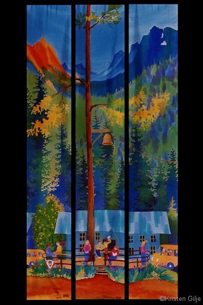 Kristen Gilje, Gift of Good Land, hand painted silkl, 9 ft x 55 in., 2002