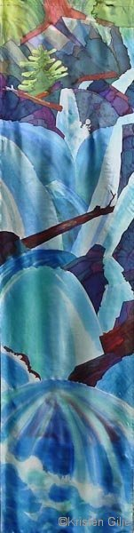 Kristen Gilje, Lenten Waterfall, hand painted silk, 9 ft. x 28 in., 2003
