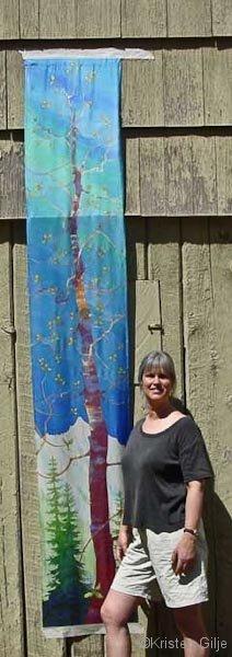 Kristen Gilje, Lenten Aspen, hand painted silk, 9ft.x 28 in., 2003