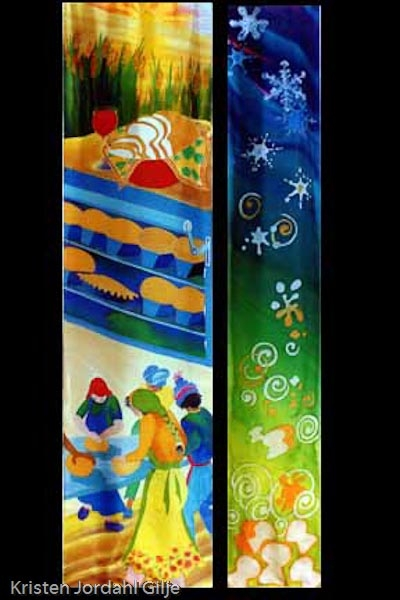 Kristen Gilje, Breadmaking at Holden, hand painted silk, 9ft. x 48 in., 2002