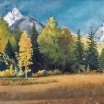 Kristen Gilje,Path to the Heart, watercolor 14.5x30 inches.