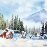 Kristen Gilje,Roof-Alanche, watercolor 30x22.