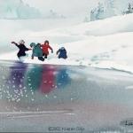 Kristen Gilje, Children at Lucerne, watercolor 15x11 inches