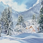 Kristen Gilje, Winter Morning After the Storm, watercolor 30x22 inch