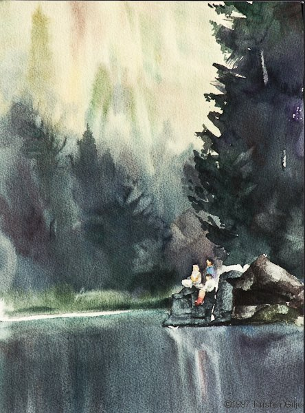 Kristen Gilje, Evening Song on Brush Lake, waterlor 15x10 inches.