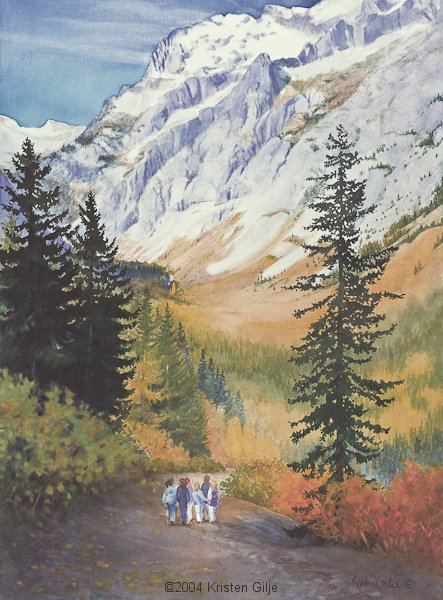 Kristen Gilje, Laughter on the Trail, watercolor 30x22 inches