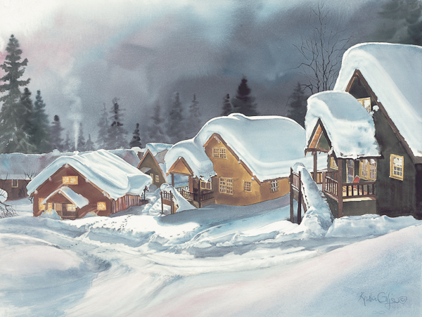 Kristen Gilje, Blue Fog over Chalet Hill, watercolor 22x30 inches