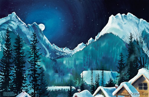 Kristen Gilje, Moonlight over Copper Basin, watercolor 18x30 inches.