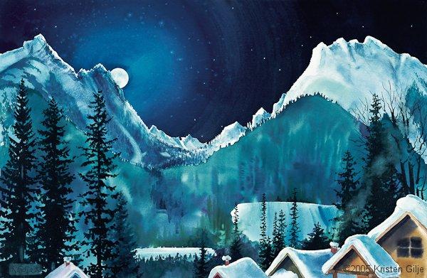 Kristen Gilje, Moonlight over Copper Basin, watercolor 18x30 inches.
