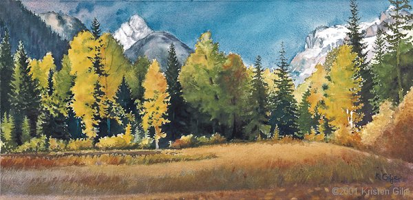 Kristen Gilje,Path to the Heart, watercolor 14.5x30 inches.