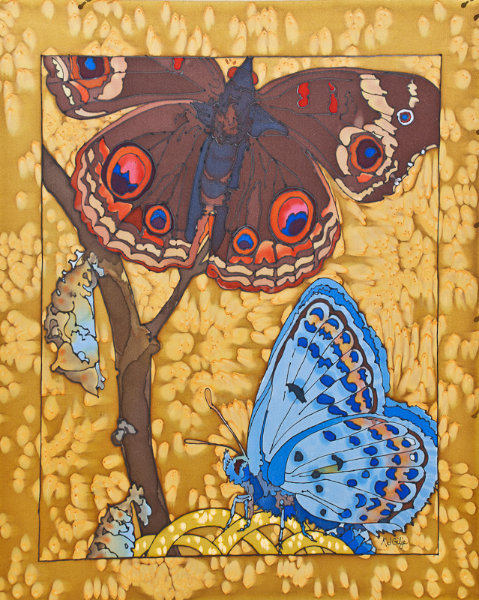 © Kristen Gilje, Buckeye and Melissa's Blue 2, 28x22, hand painted silk
