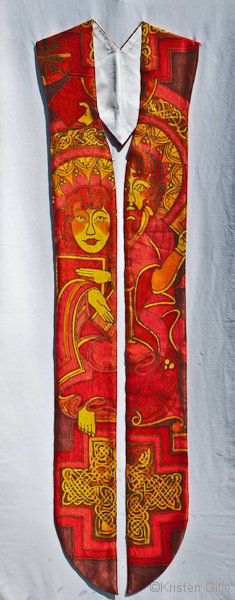 Kristen Gilje, Andrea's Saints and Martyrs Stole, hand painted silk.