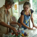 Edna and Hildie, Carey Institute Aug. 2012 silk painting workshop