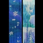 Kristen Gilje, Advent at Holden, 9 ft x 38 in., hand painted silk, 2002