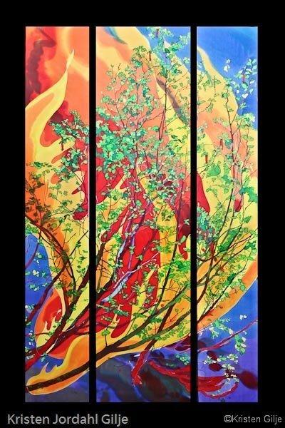 Kristen Gilje, Burning Bush, hand painted silk, 9ft. x 55 in., 2005