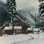 Kristen Gilje, Dininghall in Snow, watercolor 15x11 inches