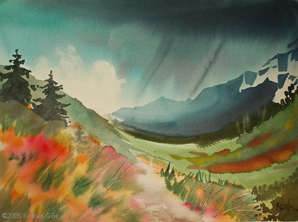 Kristen Gilje, Holden Lake Trail, 10.5x14 inches, watercolor.