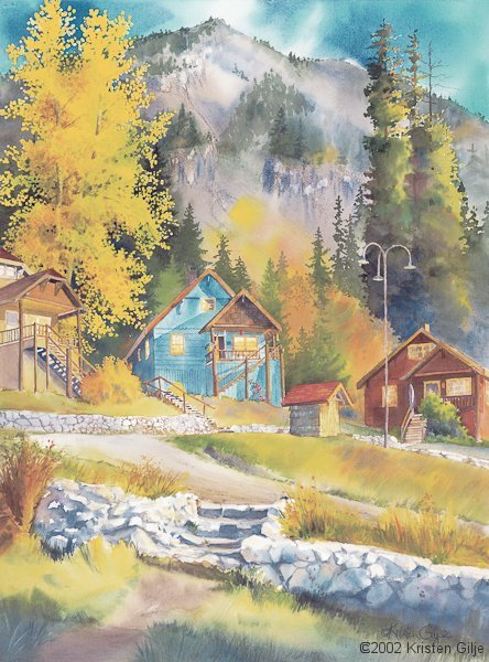 Kristen Gilje, Autumn on Chalet Hill, watercolor 30x22 inches.
