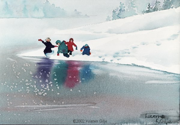 Kristen Gilje, Children at Lucerne, watercolor 15x11 inches