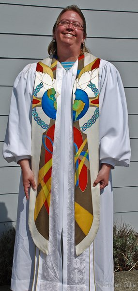 ©Kristen Gilje, Nathan's Earth, Dove, Cross Stole, hand painted silk.